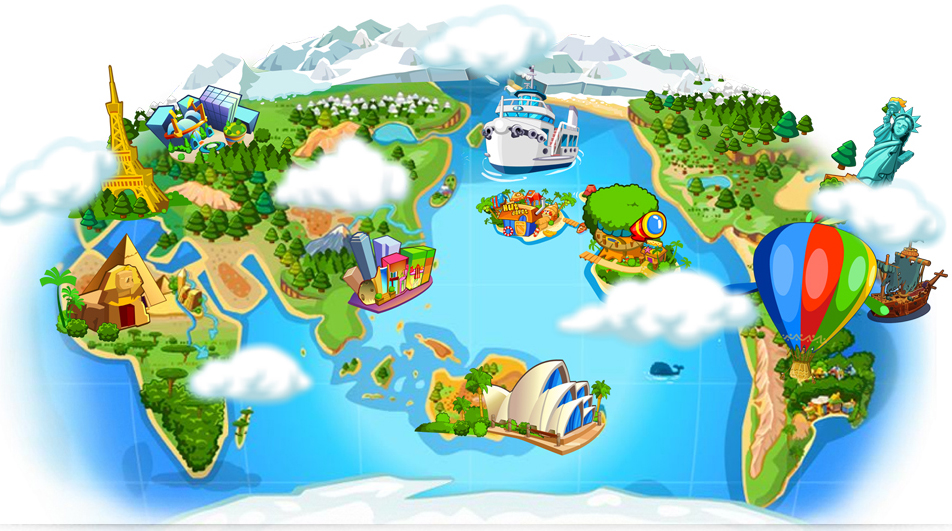 虚拟世界七大洲四大洋